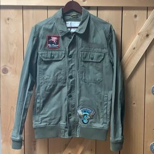 Stylish Military Jacket With Biker Patches